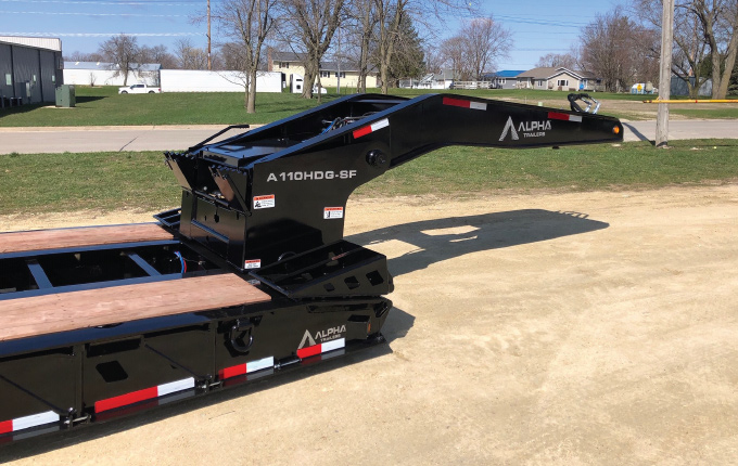 close up of front of alpha hd heavy haul trailer